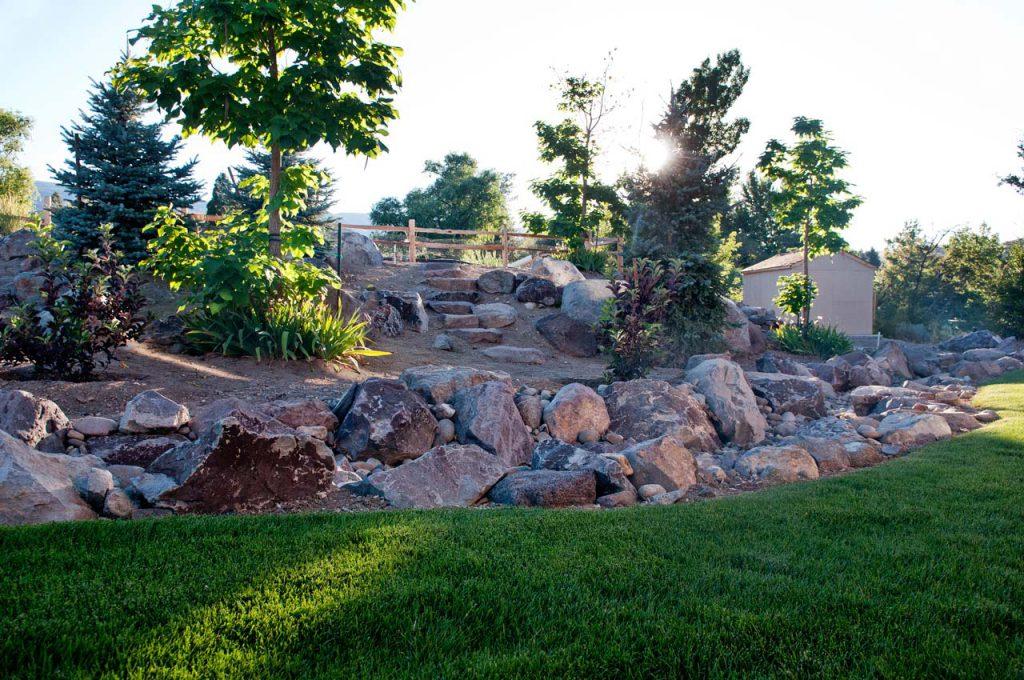 Residential Landscaping Back Rock Steps