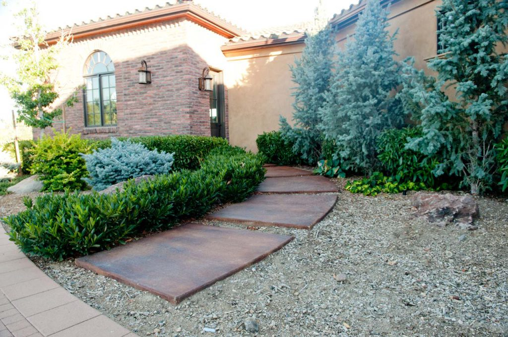 Residential Landscaping Side Door Rock Path