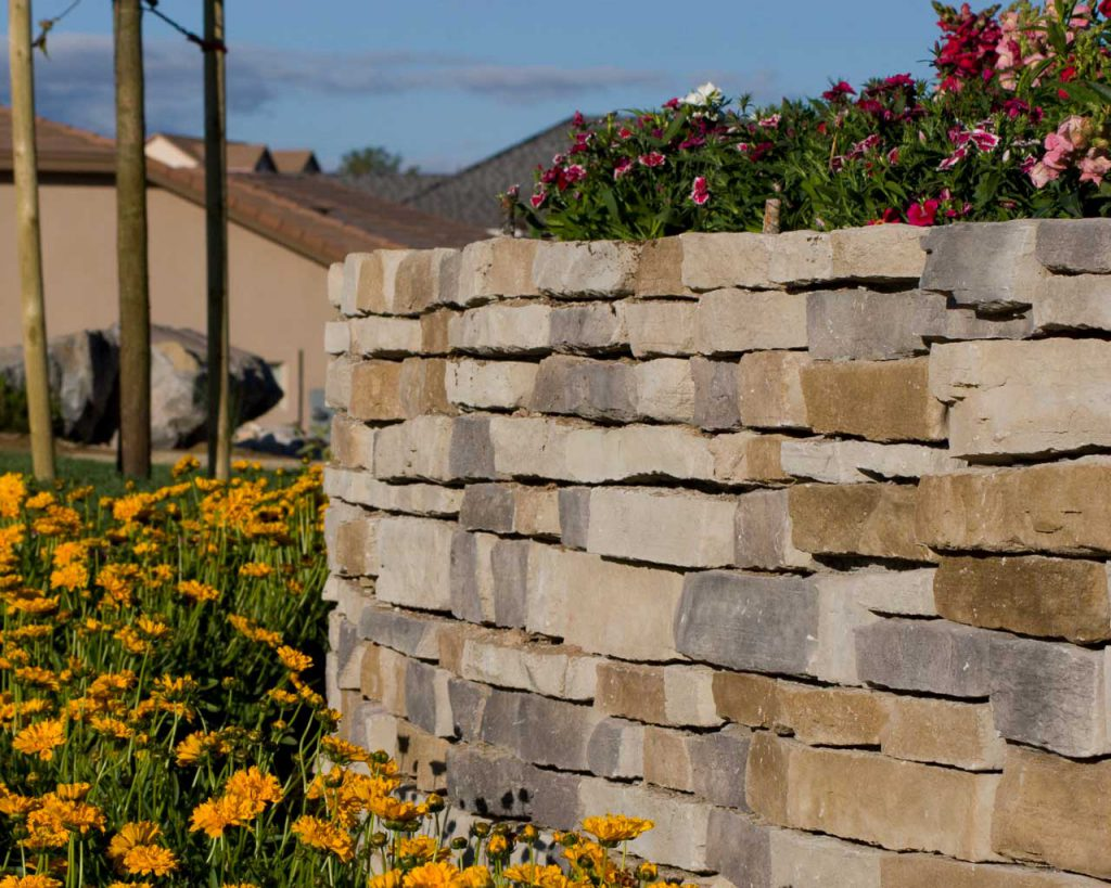 Retaining Wall with Flower Planter