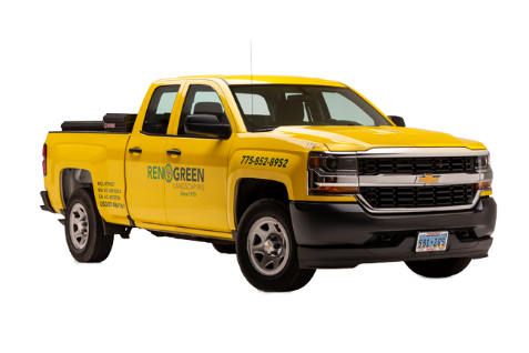 reno green landscaping truck cutout yellow truck landscaping