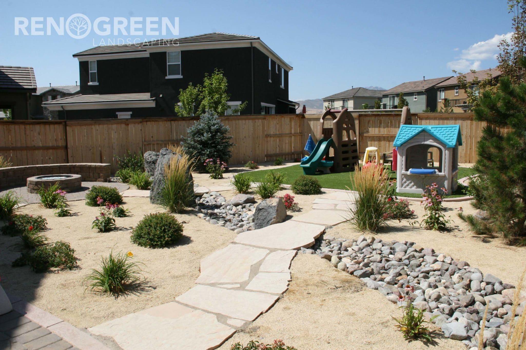 backyard xeriscape play area