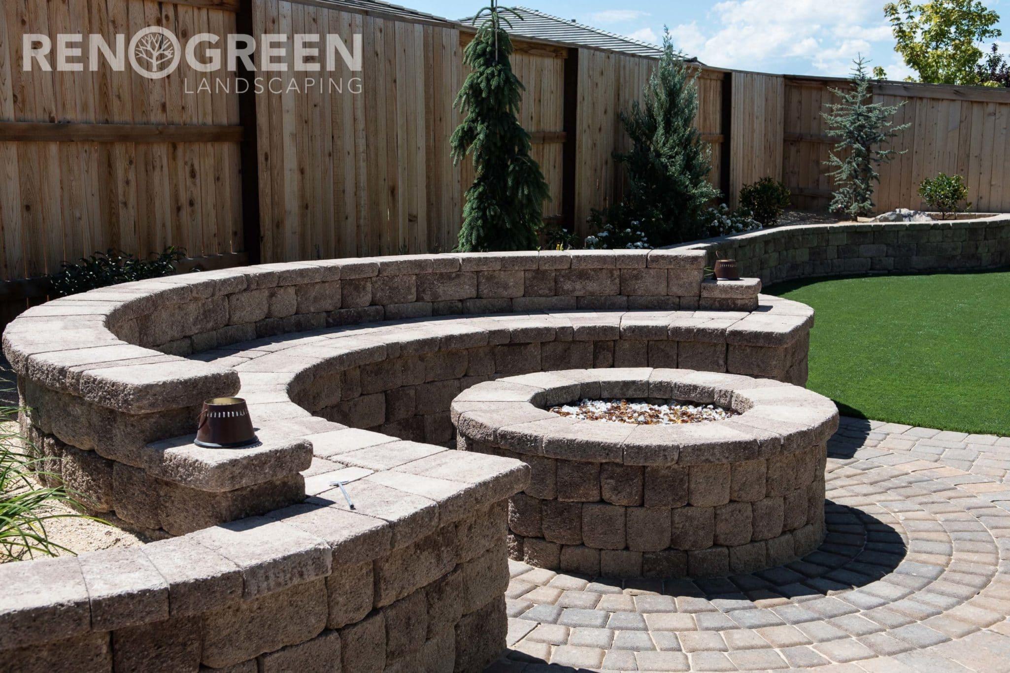 paver fire pit backyard