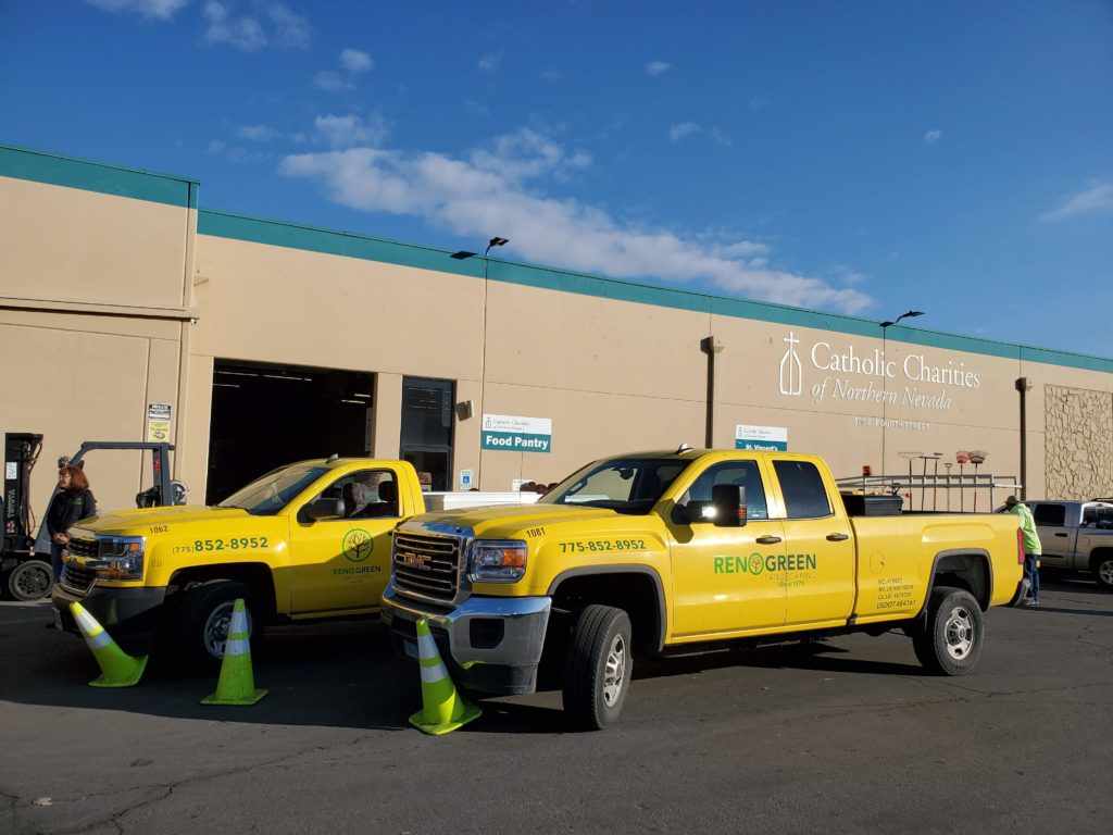 Reno Green trucks in front of food pantry