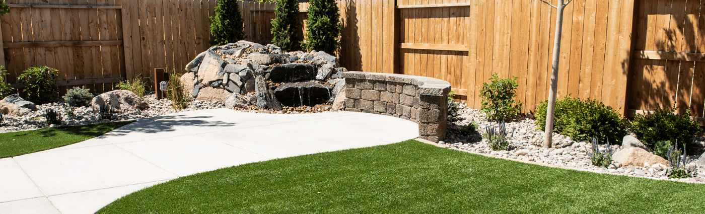 artificial turfgrass and water feature