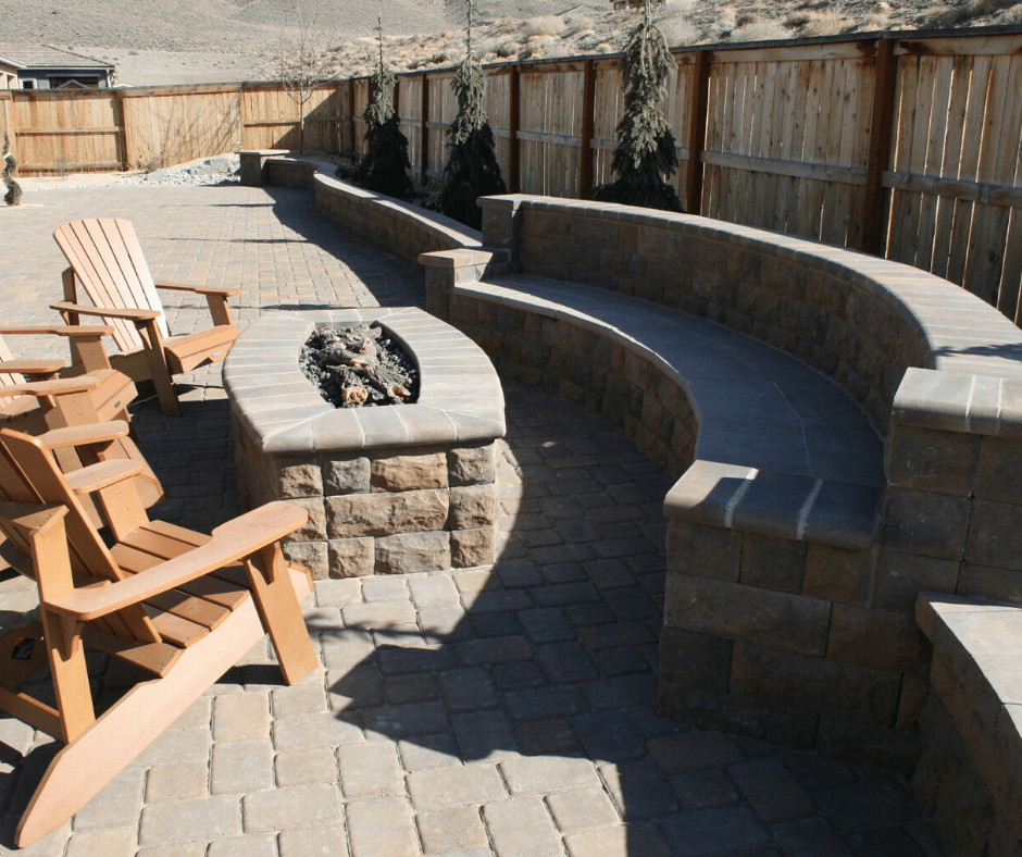 paver seating area fire pit