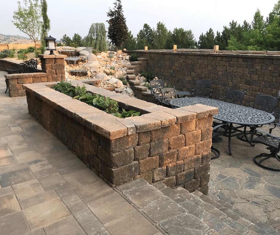 paver patio planter hardscaping