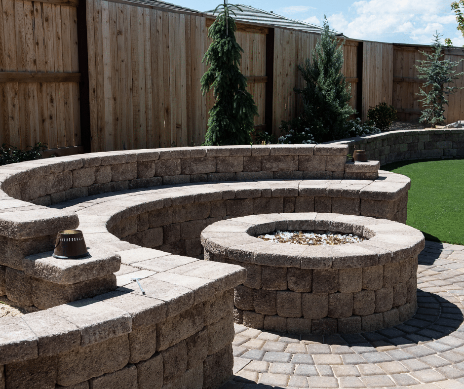 hardscaping paver fire pit seating