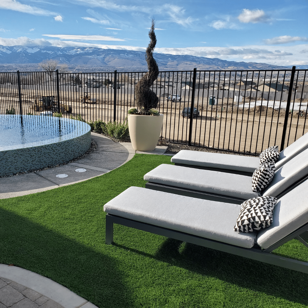 modern landscape pool artificial turf