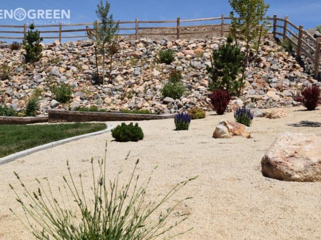 backyard xeriscape rocks