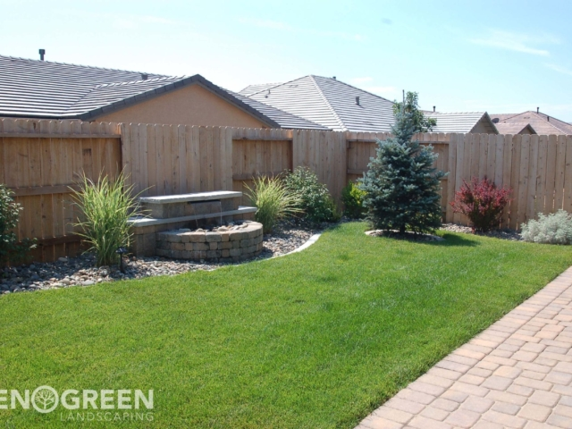 paver water feature sod installation small backyard
