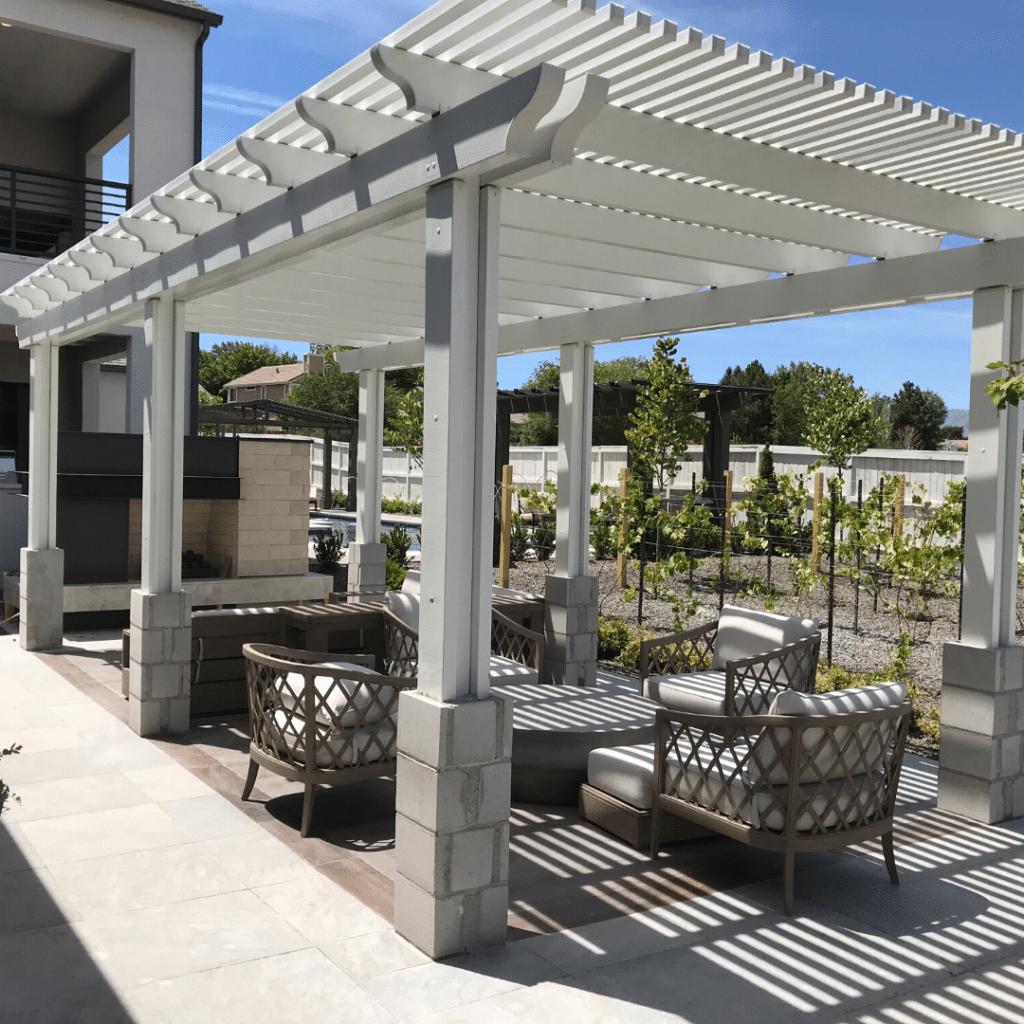 landscape design luxury resort-style pergola and lounging area