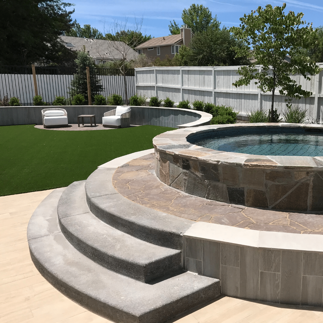 landscape design luxury resort-style poolside seating area