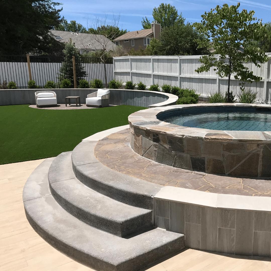 luxury resort-style poolside seating area