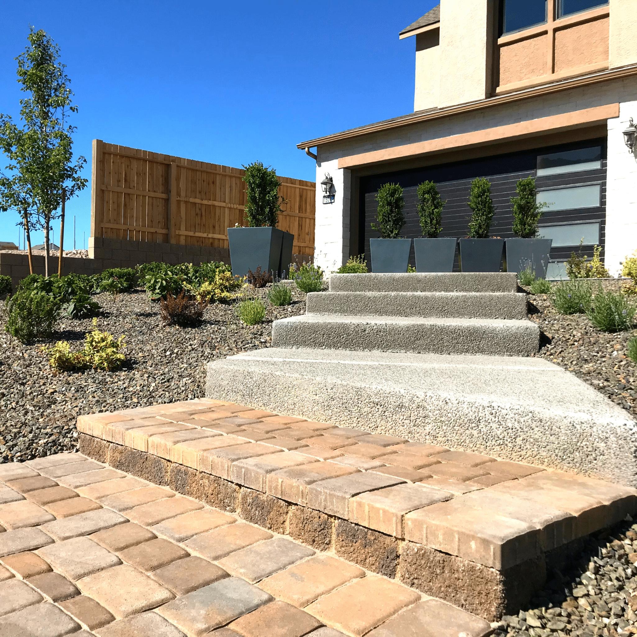 front yard landscape pavers