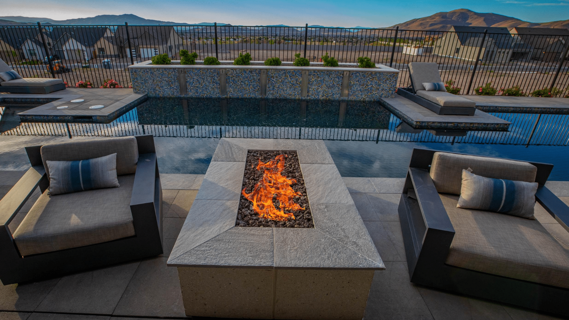 luxury fire pit and pool