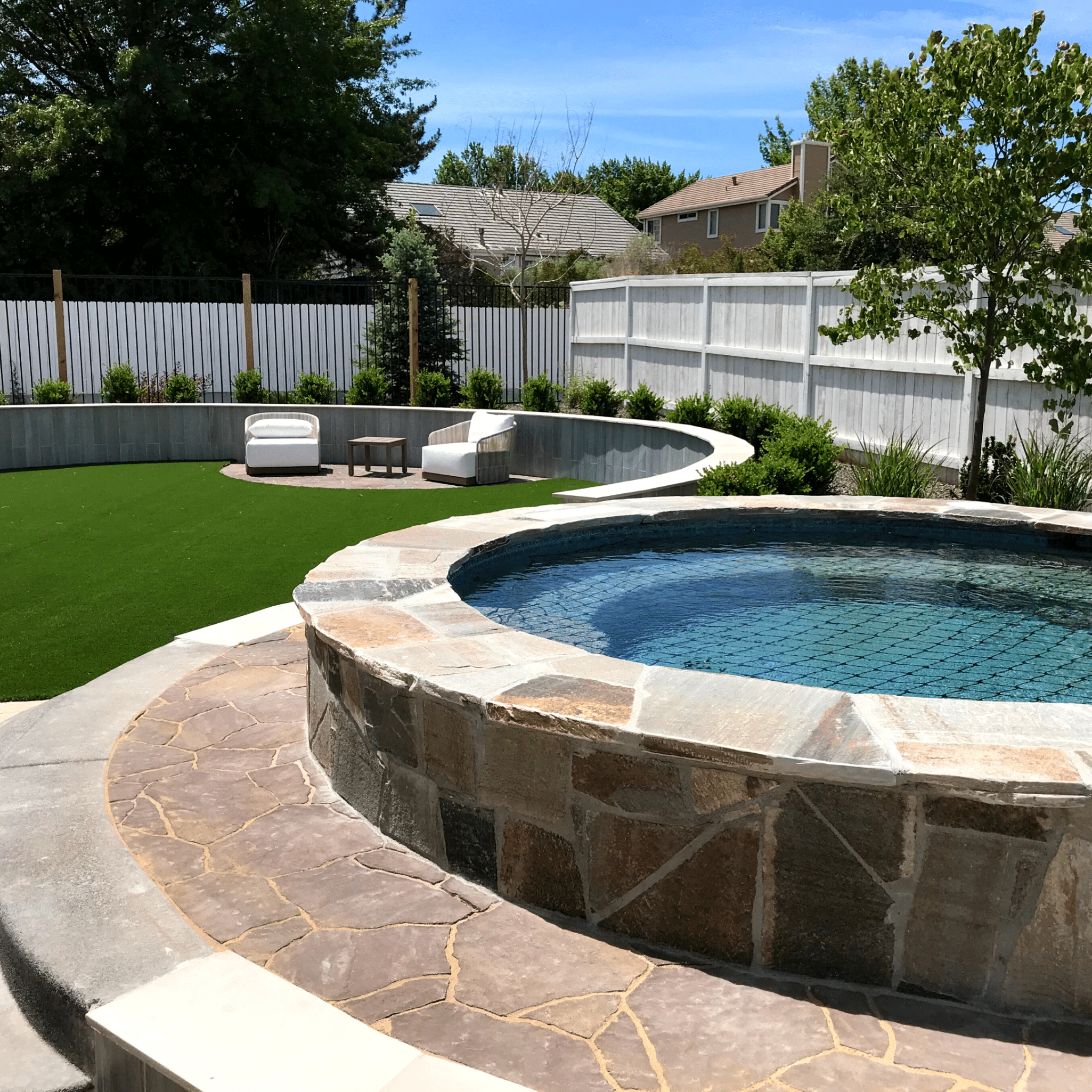 luxury outdoor living pool artificial turf