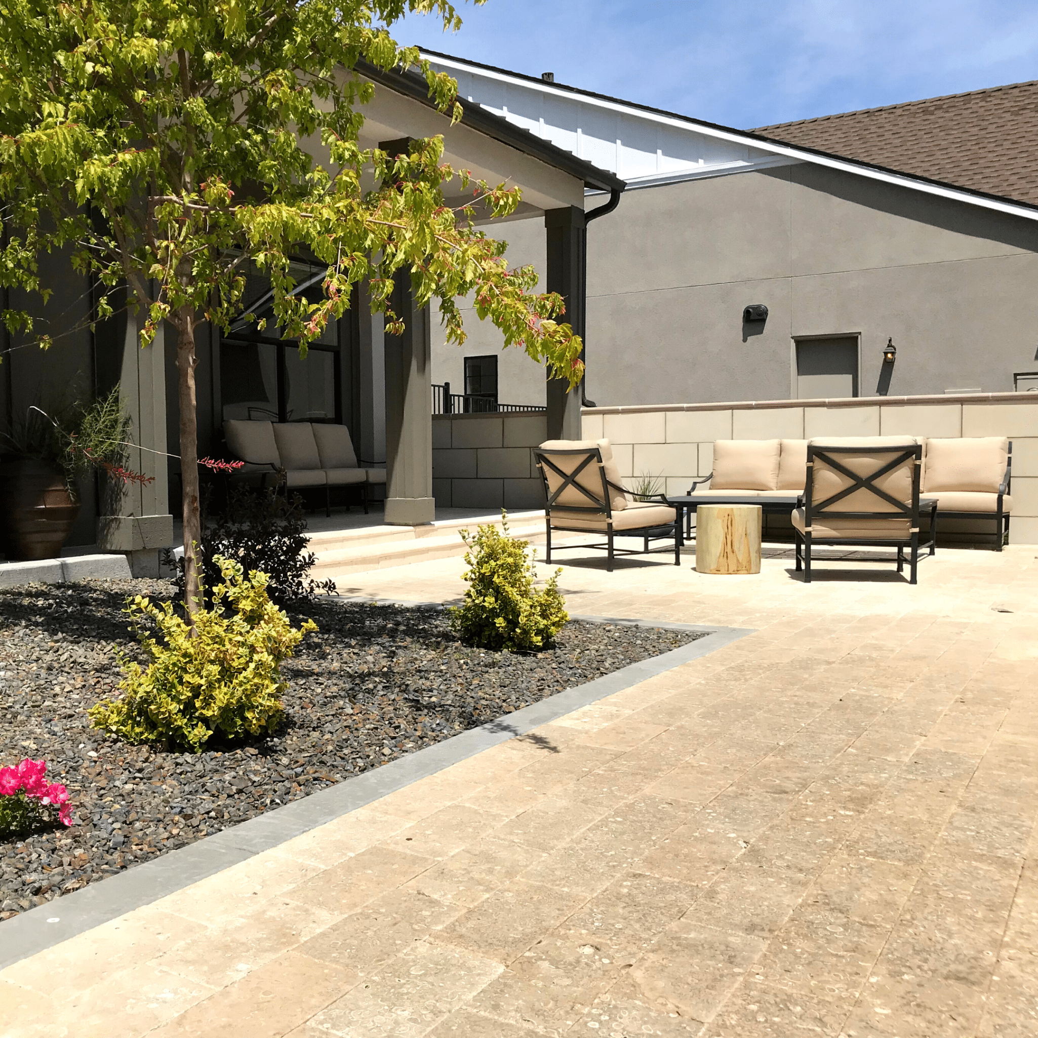 front paver patio lounging