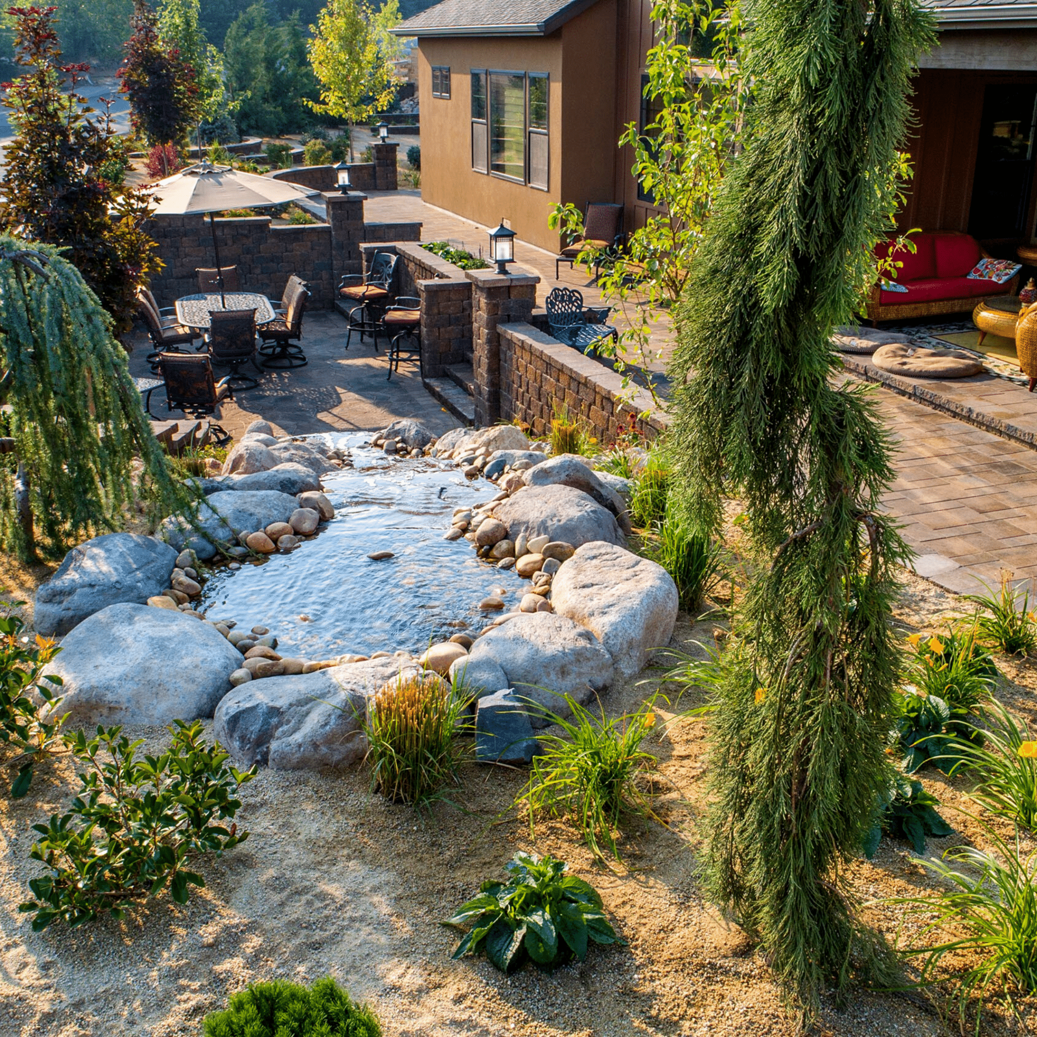 water feature outdoor living