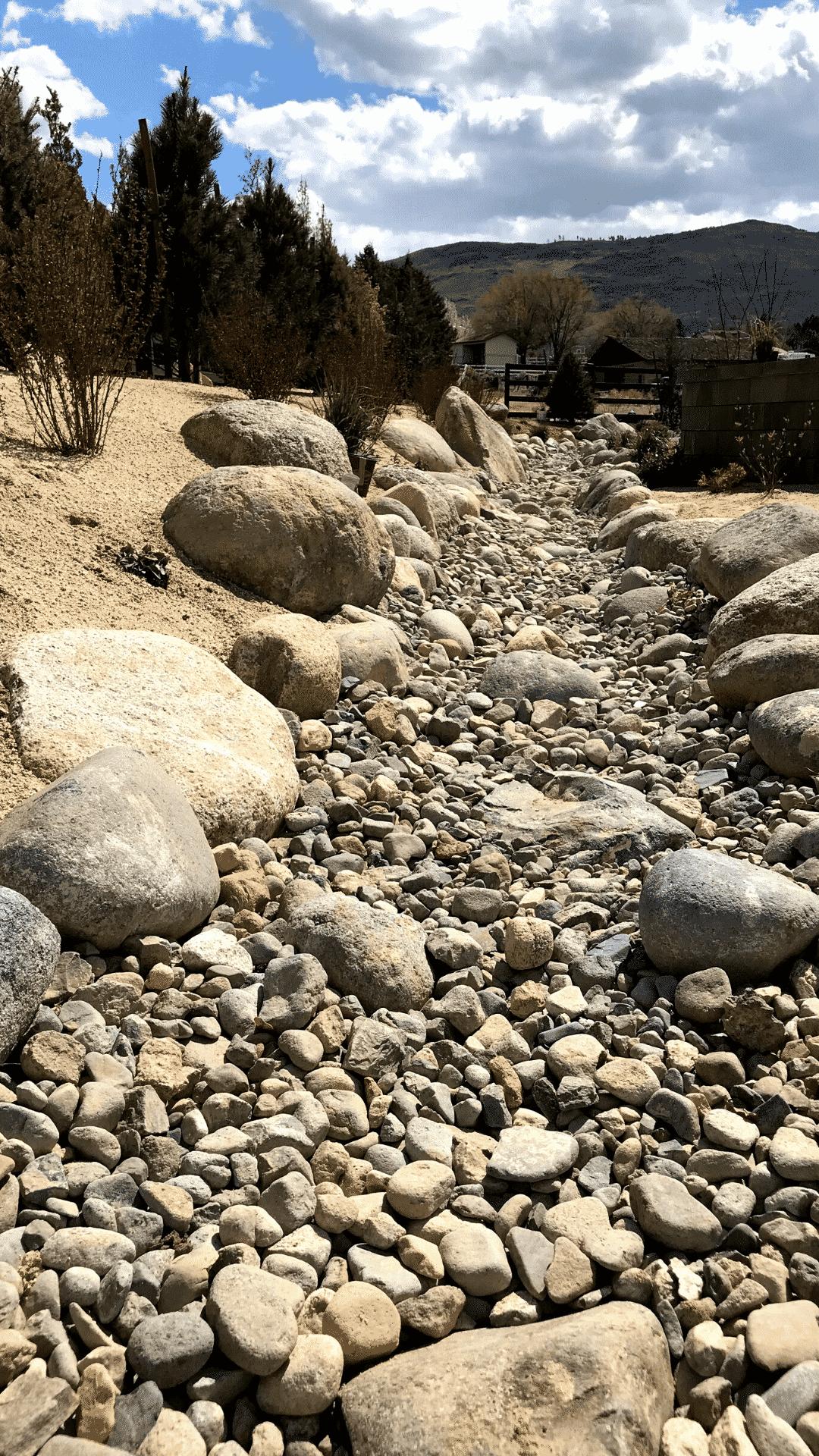 dry creek bed rock mulch