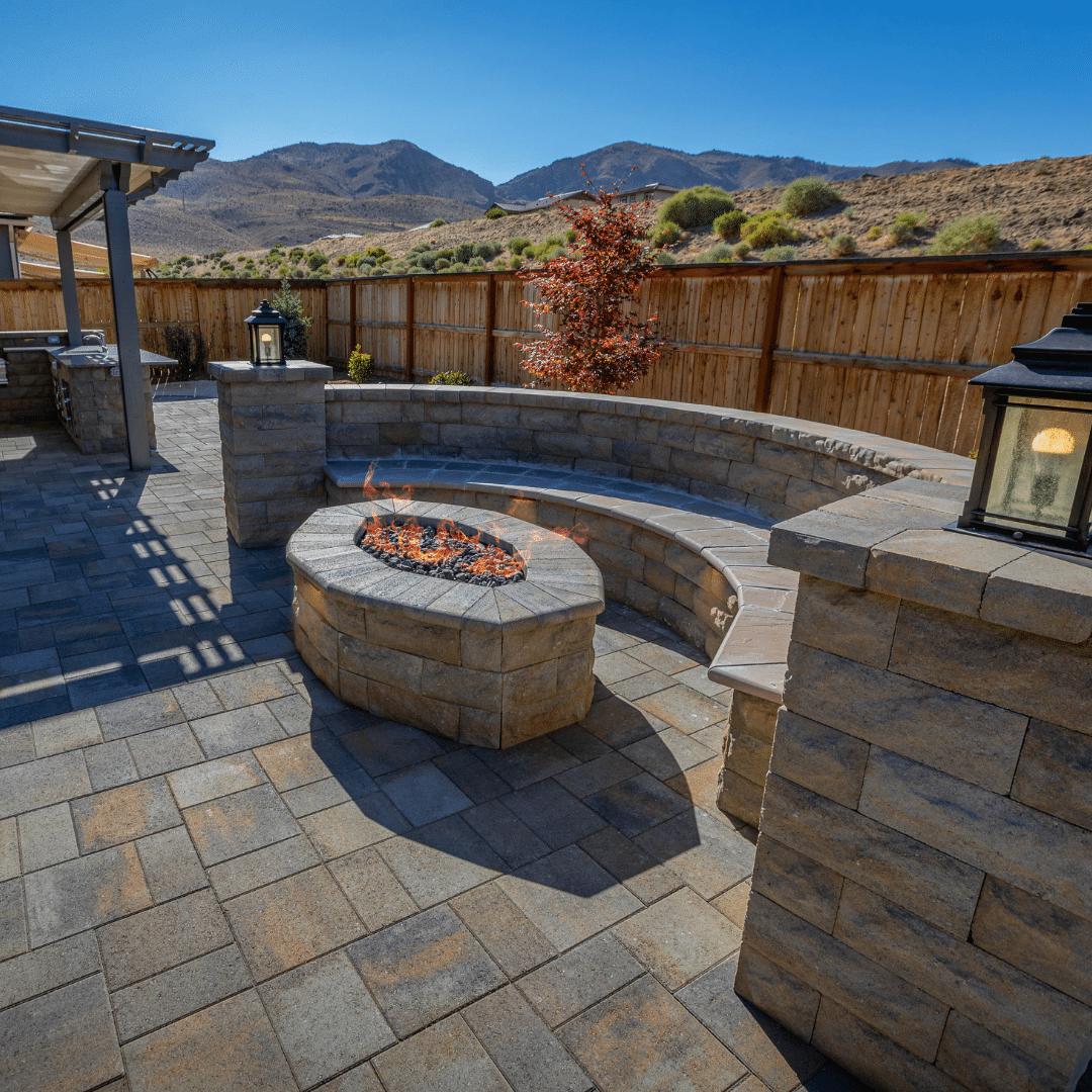 outdoor fire pit landscape installation